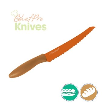 "Kai Pure Komachi II Bread Knife, 8"", Orange"