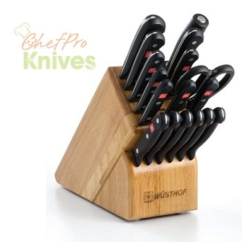 Wusthof Gourmet 17-Slot Knife Block Set, 18 Pc., Beechwood