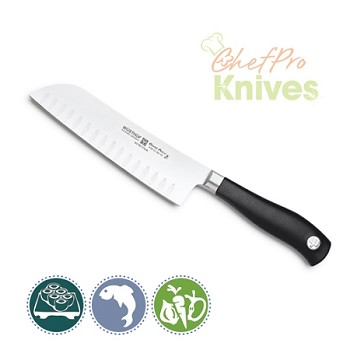 Wusthof Grand Prix II Santoku, Hollow Edge - 7 in
