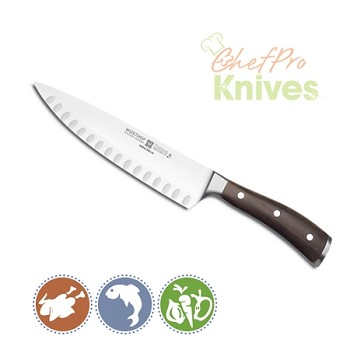 Wusthof Ikon Blackwood Hollow Edge Cook's Knife - 8 in