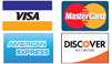 Credit Cards Accepted Visa, mastercard, Discover, Amex
